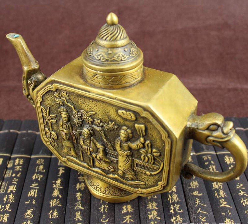 Antique Antiquités Divers Bronze Antique Ornements Artisanat Cadeaux Vieux Objets Figures Pot -A