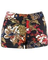 Jungle Flower Design Print Rainforest Jegging Shorts