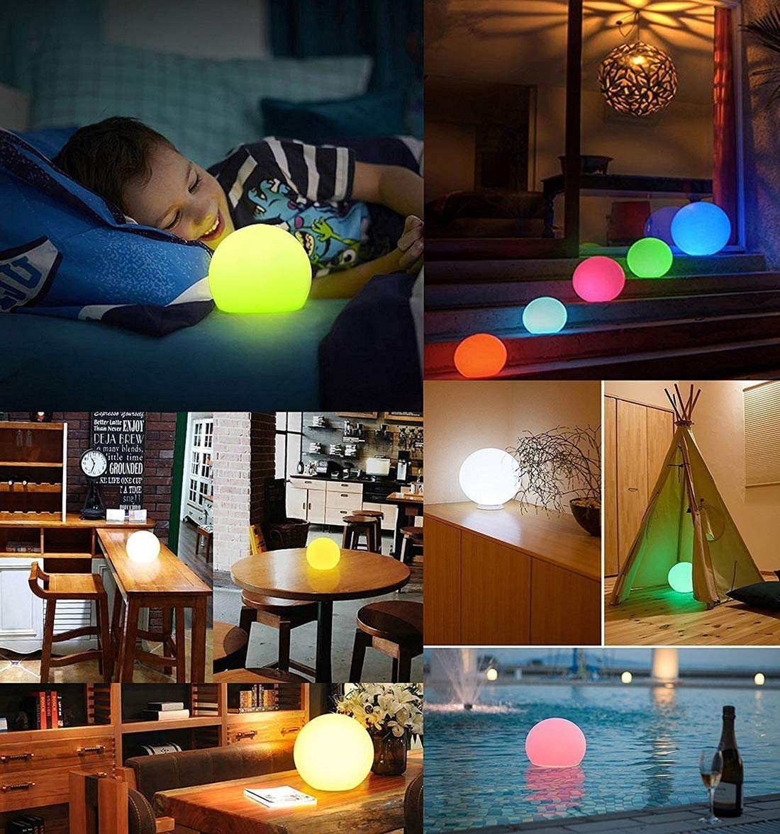 AbbottoKaylan RGB Color-Changing LED Light Ball with Remote Rechargeable Kids Night Light Mood Lamp 16 Dimmable Colors & 4 Modes Ideal for Kids Bedroom Garden Pool Party Decoration (4.7'') by AbbottoKaylan (Image #5)