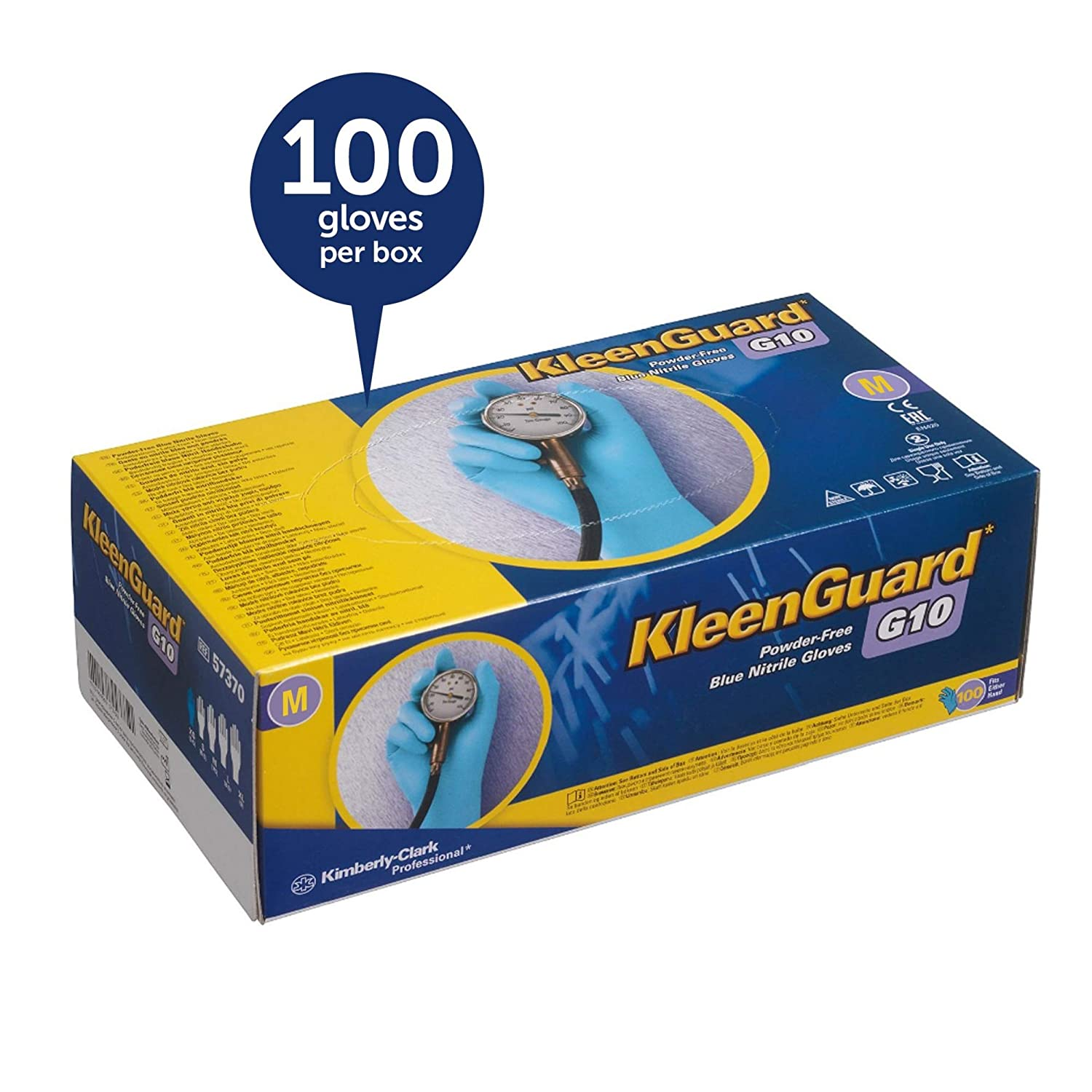 Kleenguard G10 Blue Nitrile Gloves (57372), Medium (Med.), Powder-Free, 6  Mil, Ambidextrous, Thin Mil, 100 Gloves/Box, 10 Boxes/Case: Amazon.com:  Industrial ...