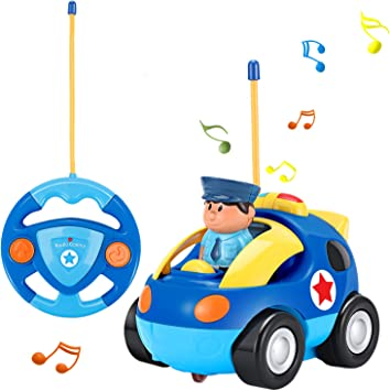OCDAY Remote Control Fire Engine Toy Car Cartoon Truck with Lights and Sound for Kids Toddlers