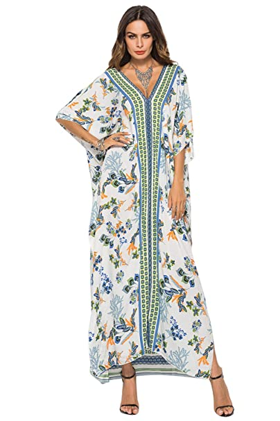 Vestido Largo Verano Mujer Bohemio Maxi Dress Estampado ...