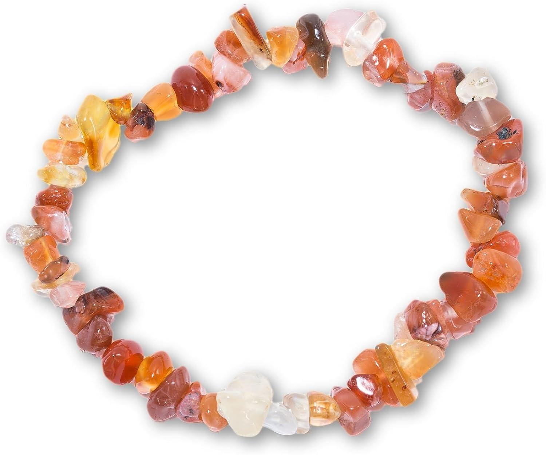 Taddart Minerals Pulsera Splitter de Color Naranja y Blanco de Piedra Preciosa Natural de cornalina con Hilo de Nailon elástico, Hecha a Mano.