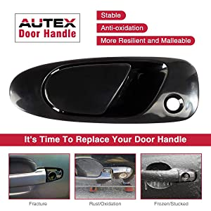 AUTEX Black Exterior Front Left Driver Side Door Handle Compatible with Honda Civic 1992 1993 1994 1995 Replacement for Honda Civic del Sol 1993 1994 1995 1996 1997 77748, 72180SR3003 (Color: Black)