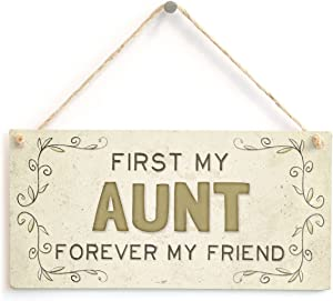 """Meijiafei First My Aunt Forever My Friend - Beautiful Home Accessory Gift Sign for Relatives and Family Members 10""""x5"""""""