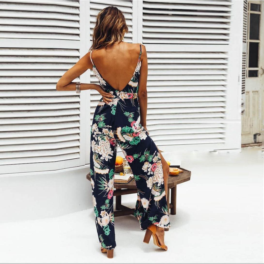 PAOLIAN Pantalones Monos Largos para Mujer Verano 2018 Casual Ropa para Mujer Sling Cuello V Sin Respaldo Pantalones de Vestir Estampado Flores Pantalones Anchos Pretina Cintura Alta