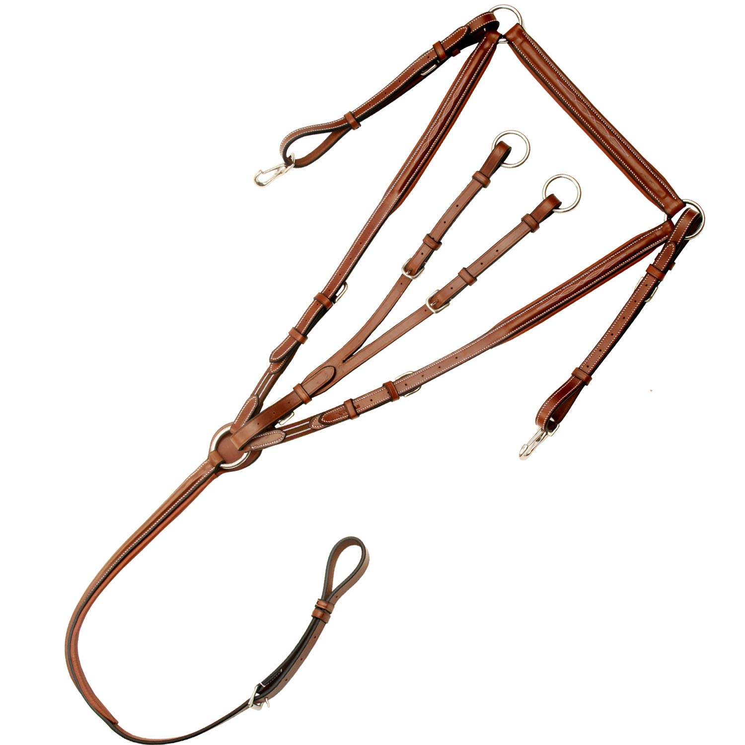 Conker (Tan Brown) Horse (Full) Conker (Tan Brown) Horse (Full) Exion Fancy Square Raised Adjustable Padded Breast Plate with Running Attachment and Stainless Steel Buckles   Brown Elastic with Grey & Maroon Lines   Conker   Horse