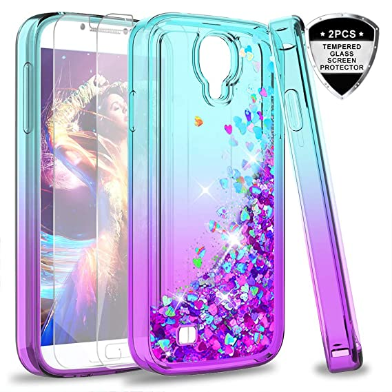 best website 99345 abc73 S4 Case, Galaxy S4 Glitter Case with Tempered Glass Screen Protector [2  Pack] for Girls Women, LeYi Bling Sparkle Diamond Liquid Quicksand Flowing  ...