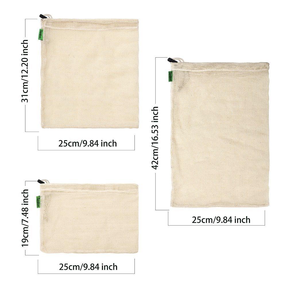 Ubitree Gemüsebeutel ,Mesh Cotton Produce Tasche, die organisch, natürlich, einfach zu reinigen, Zero-Waste,Wiederverwendbar Einkaufstaschen aus Baumwolle/Gemüsenetze Set von 11 (3 kleine, 4 mittlere, 3 große,1 Aufbewahrungstasche).