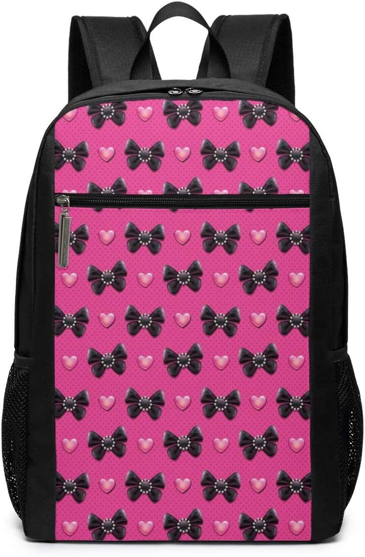 17 Inch School Laptop Backpack,Bow Ties with Hearts Feminine Love Valentines Day Romantic Theme Dotted Background,Casual Daypack for Business//College//Women//Men