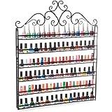 Dazone® Wall Mount 6 Tiers Nail Polish Rack Organizer Hold 120 Bottles Nail Polish Shelf (Black)