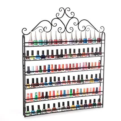 Terrific Dazone Wall Mount 6 Tiers Nail Polish Rack Organizer Hold 120 Bottles Nail Polish Shelf Black Interior Design Ideas Tzicisoteloinfo