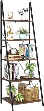 Homfa Estantería Escalera Librería de Pared Estantería Metálica para Salón Terraza Dormitorio con 5 Niveles Vintage y Negro 60x50x180cm: Amazon.es: Bricolaje y herramientas