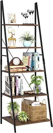 Homfa Estantería Escalera Librería de Pared Estantería Metálica para Salón Terraza Dormitorio con 5 Niveles Vintage y Negro 60x50.3x180.5cm: Amazon.es: Hogar