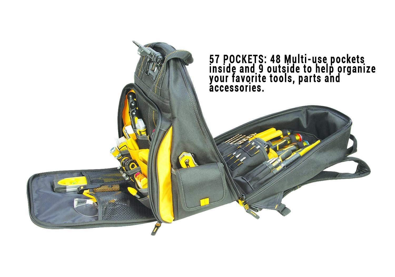 DEWALT DGL523 Lighted Tool Backpack Bag, 57-Pockets by DEWALT (Image #3)