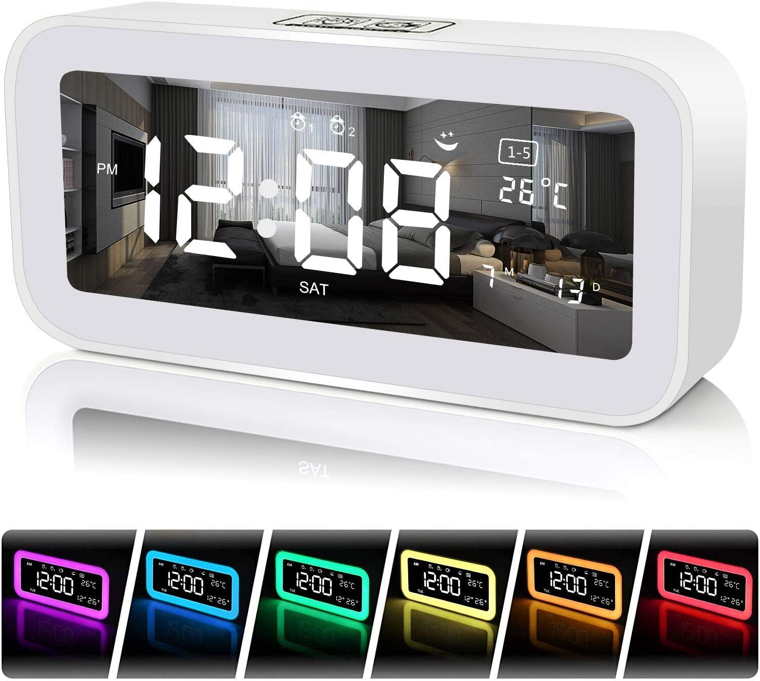 FastDeng Digital Clock-Sunrise Alarm Clocks for Bedroom with USB Ports - Wake Up Light Alarm Clock,Snooze,Dimmer 7 Colors, Night Light,Dual Alarm Clocks for Heavy Sleepers, Kids (White)