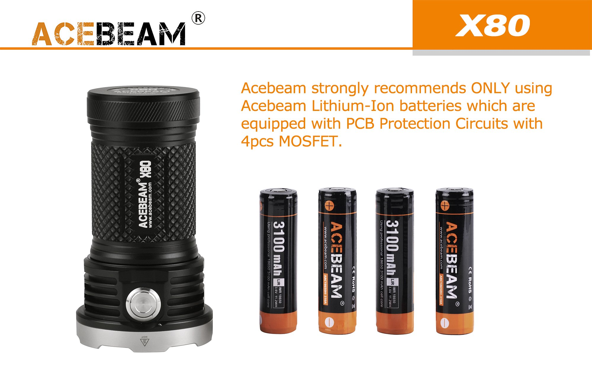 AceBeam X80 Flashlight 25000 Lumens 5-color Light Beam Flashlights Included Batteries by ACEBEAM (Image #5)
