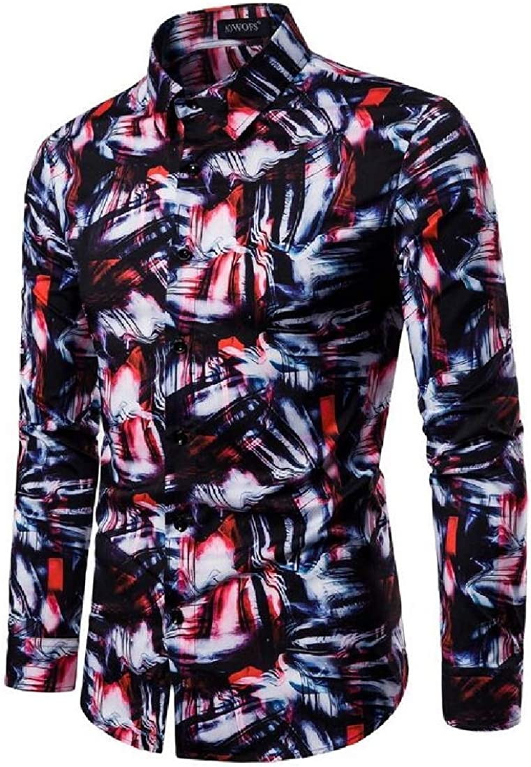 YYear Mens Button Down Casual Contrast Long Sleeve Floral Print Stretchy Shirt