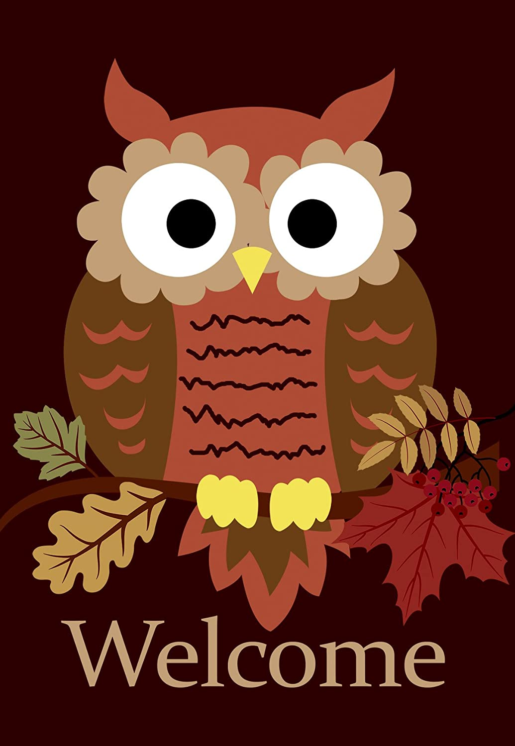 Morigins Welcome Fall Cute Owl Double Sided Garden Flag 12.5 x 18 inch