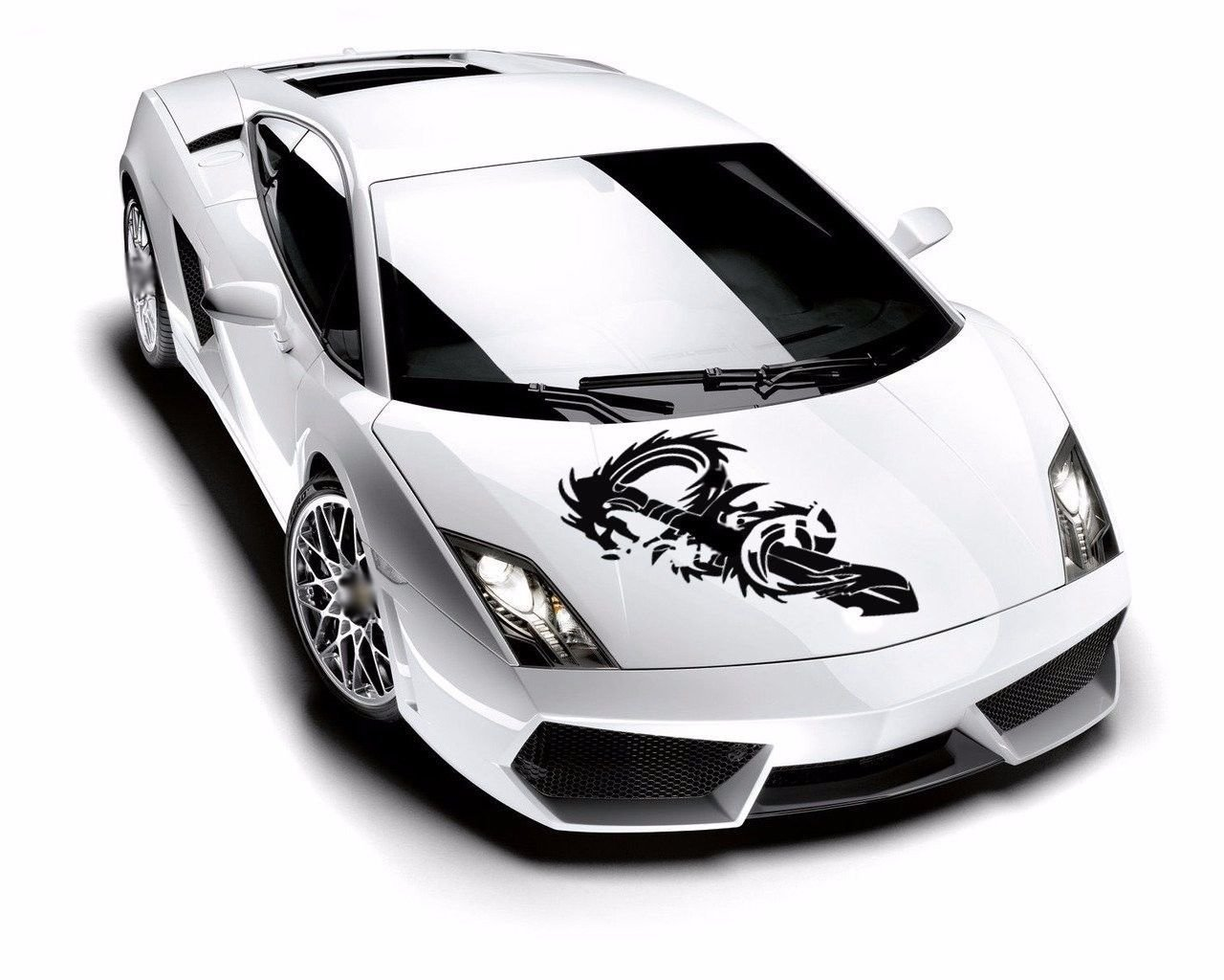 Amazon com fantasy dragon and sword anime hood vinyl car sticker decal ar39 home kitchen