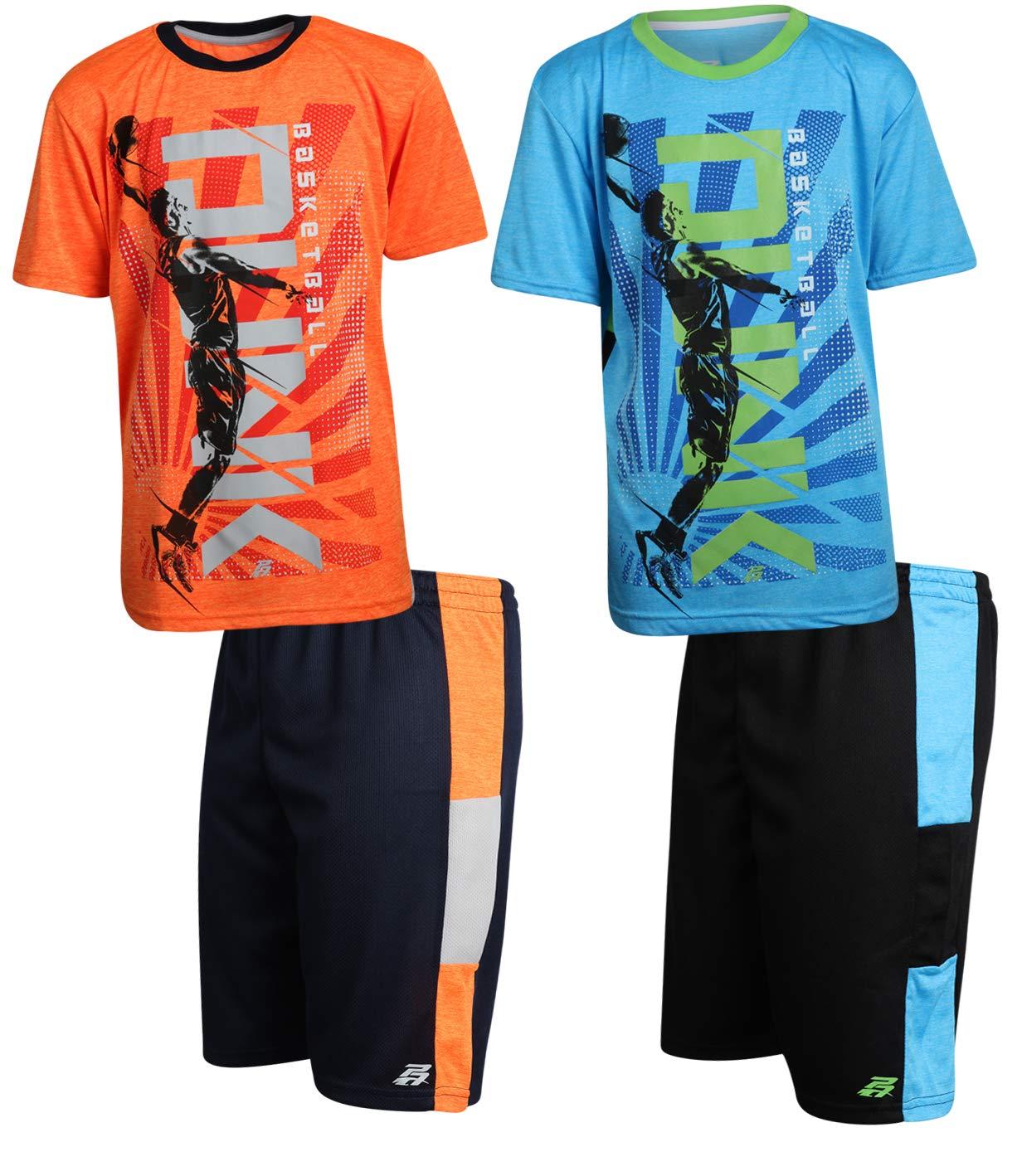 Pro Athlete Boys 4-Piece Matching Performance Basketball Shirt and Short Sets, Dunk, Size 5/6'