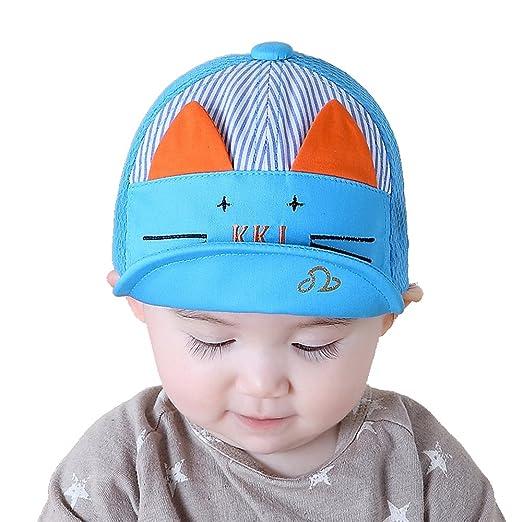 60e70588492 Jewby 2017 Sun Protection Cute Cat Design Summer Hat for Children Kids  3-12Months (