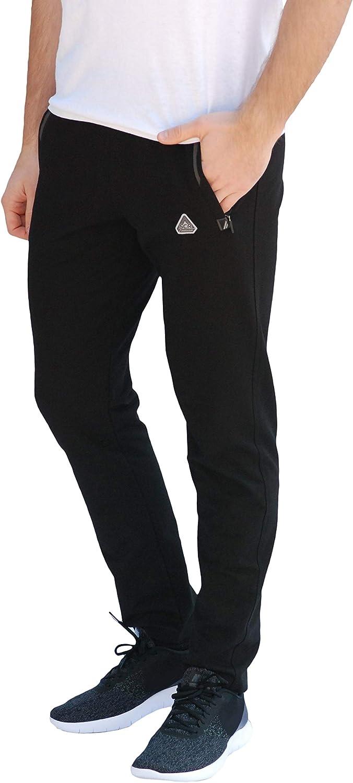SCR SPORTSWEAR Mens Soccer Track Training Pants Athletic Sweatpants with Zipper Pockets Black Heather Grey Short Long Inseam