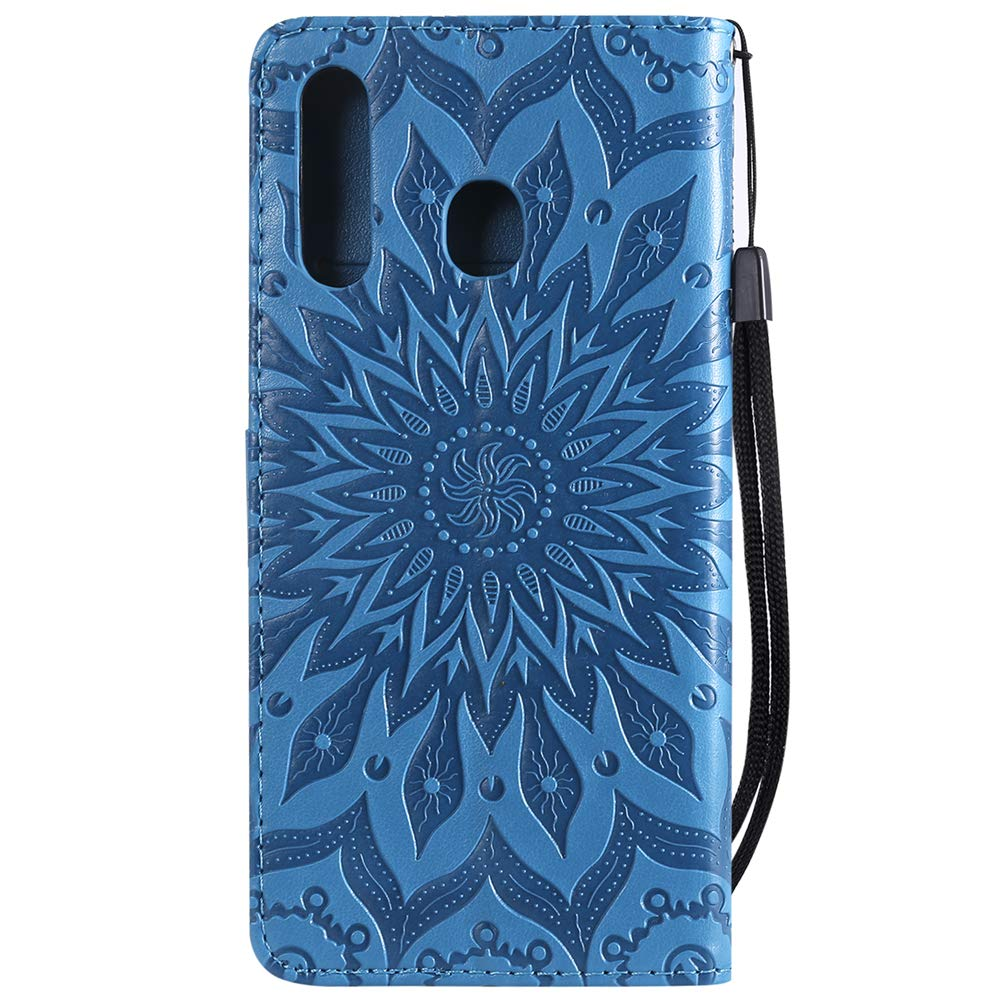 LEECOCO Samsung A20 Case Shockproof Cover 3D Emboss Flame Skull PU Leather Durable Flip Wallet Case Bookstyle Magnetic Stand Card Slot Folio Bumper Cover for Samsung Galaxy A20 A30 Flame Skull RX