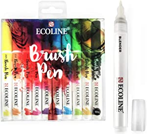 Royal Talens Ecoline Liquid Watercolour Drawing Painting Brush Pens - Set of 10 Assorted Colours in Wallet + Blender Pen