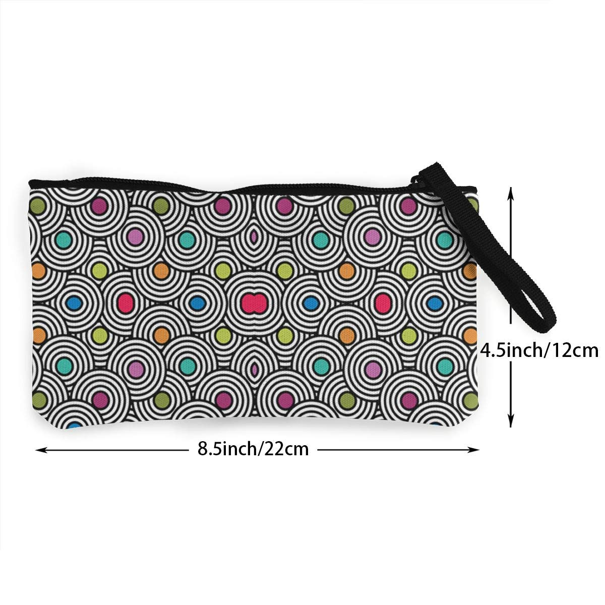 Cellphone Bag With Handle Make Up Bag DH14hjsdDEE Colorful Center Dots zipper canvas coin purse wallet
