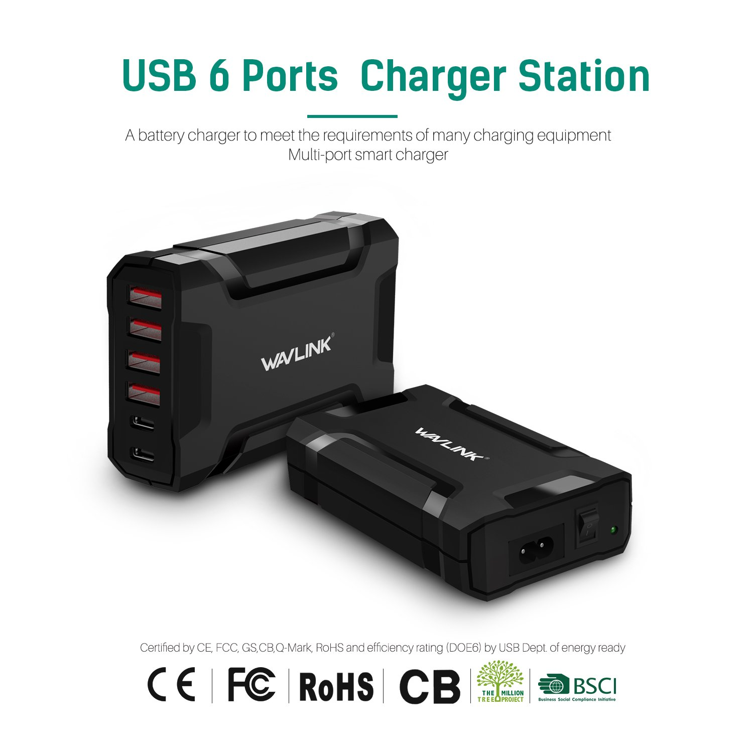 Amazon.com 60W 6 Port USB C Wall Charger - USB 3.0 Multiple Fast Charge Desktop Charging Station Dock with Charging Cords for iPhones/Smart Phones/Tablets ...  sc 1 st  Amazon.com & Amazon.com: 60W 6 Port USB C Wall Charger - USB 3.0 Multiple Fast ...