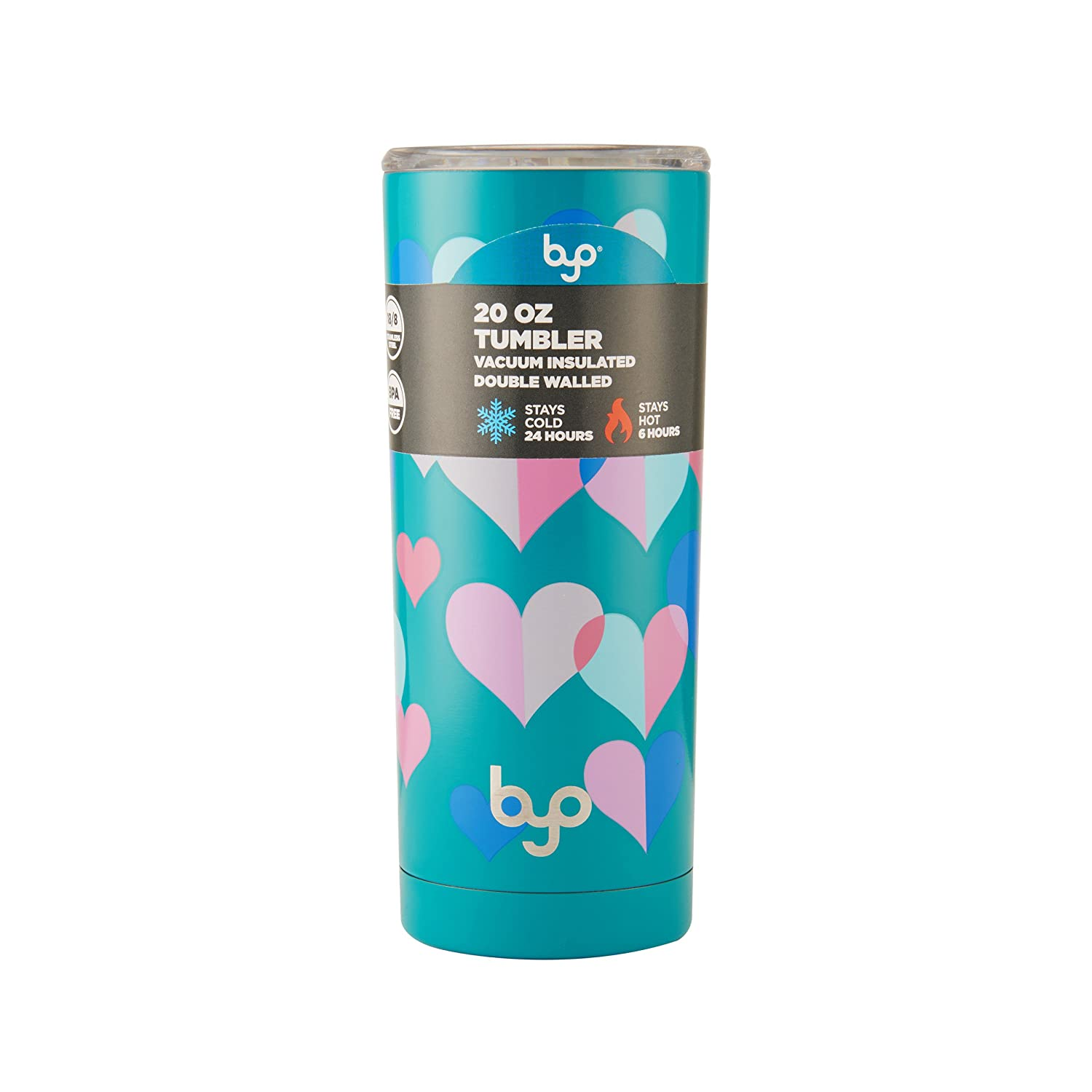 881b3147e03 Amazon.com   BYO 5202739 Double Wall Stainless Steel Vacuum Insulated  Tumbler, 20-Ounce, Teal Hearts: Tumblers & Water Glasses
