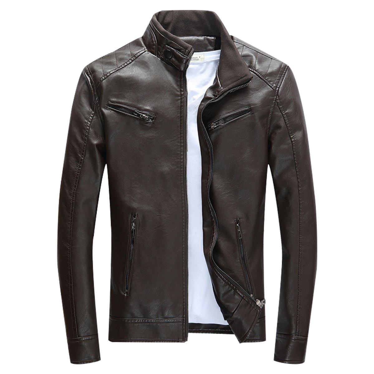 LISUEYNE Mens PU Leather Jackets Slim Smart Fit Fleece Jacket Coat Spring Outwear
