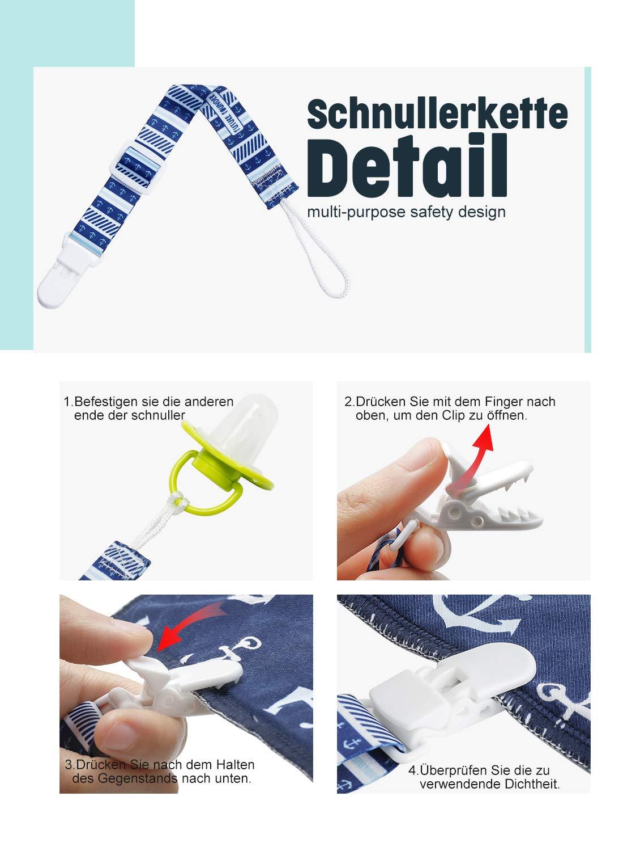 FUTURE FOUNDER Fascia per ciuccio con anello in silicone e clip per bavaglino triangolare 18-36 mesi