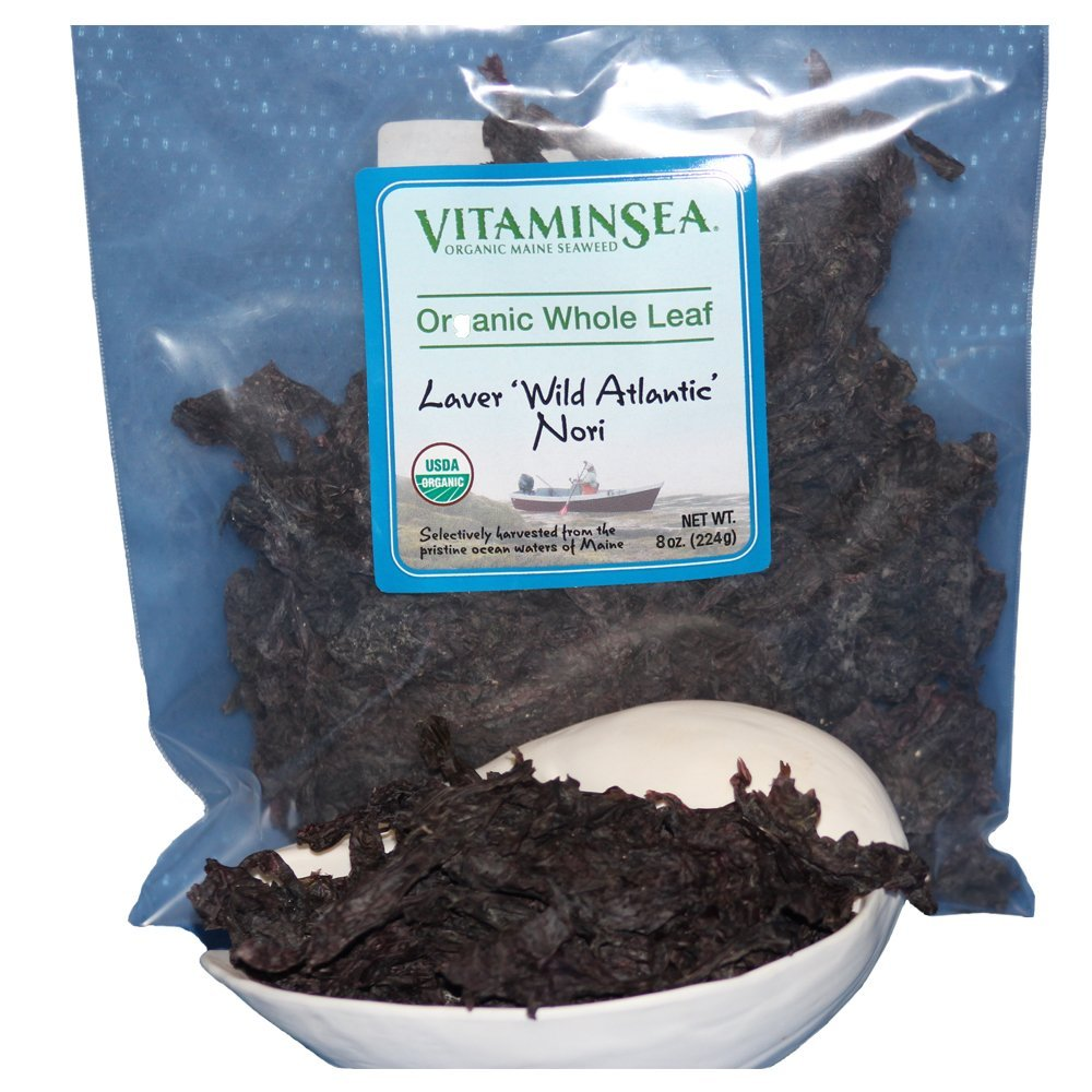 VitaminSea Organic Nori Seaweed Laver - 8 oz Whole Leaf Maine Coast - USDA & Vegan Certified - Kosher - Perfect For Keto & Paleo Diets - Sun Dried - Raw Wild Atlantic Ocean Sea Vegetables (NW8)