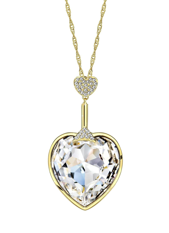 NEOGLORY Collar de Corazón Amor Love Heart con Cristales SWAROVSKI BLANCO Joya