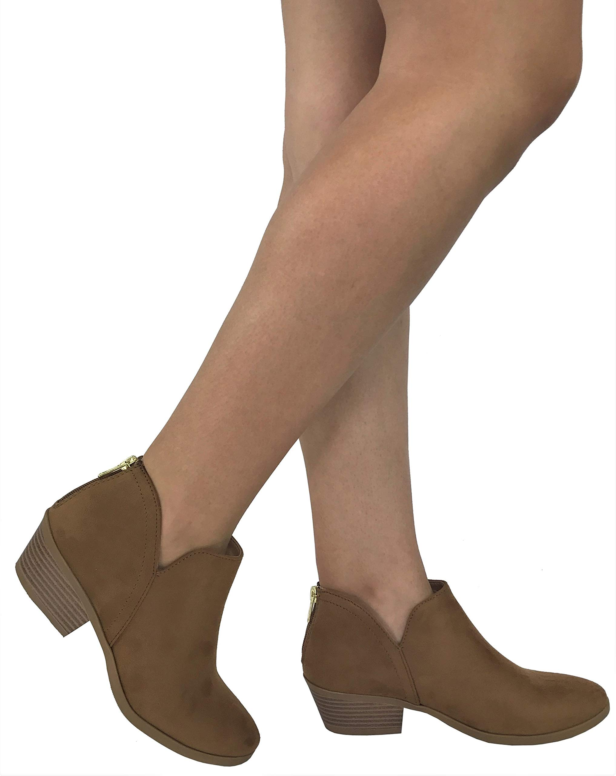 City Classified Women's Ankle Bootie Side V Cut Low Chunky Stacked Heel, Chamois Tan, 8