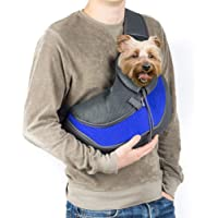 Pet Sling Carrier, Coopts Small Dog Cat Carrier Sling Hands-Free Pet Puppy Outdoor Travel Bag Tote Reversible Comfortable Machine Washable Adjustable Pouch Shoulder Carry for Pets Below 13lb, Blue