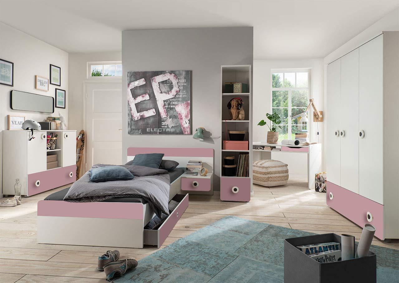 lifestyle4living Jugendzimmer Komplett-Set in weiß und rosa, modernes Kinderzimmer für Mädchen, 4-TLG. zeitlos