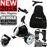 """NEW 2016"" BEN SAYERS WHITE ELECTRIC GOLF TROLLEY + 36 HOLE BATTERY & CHARGER"