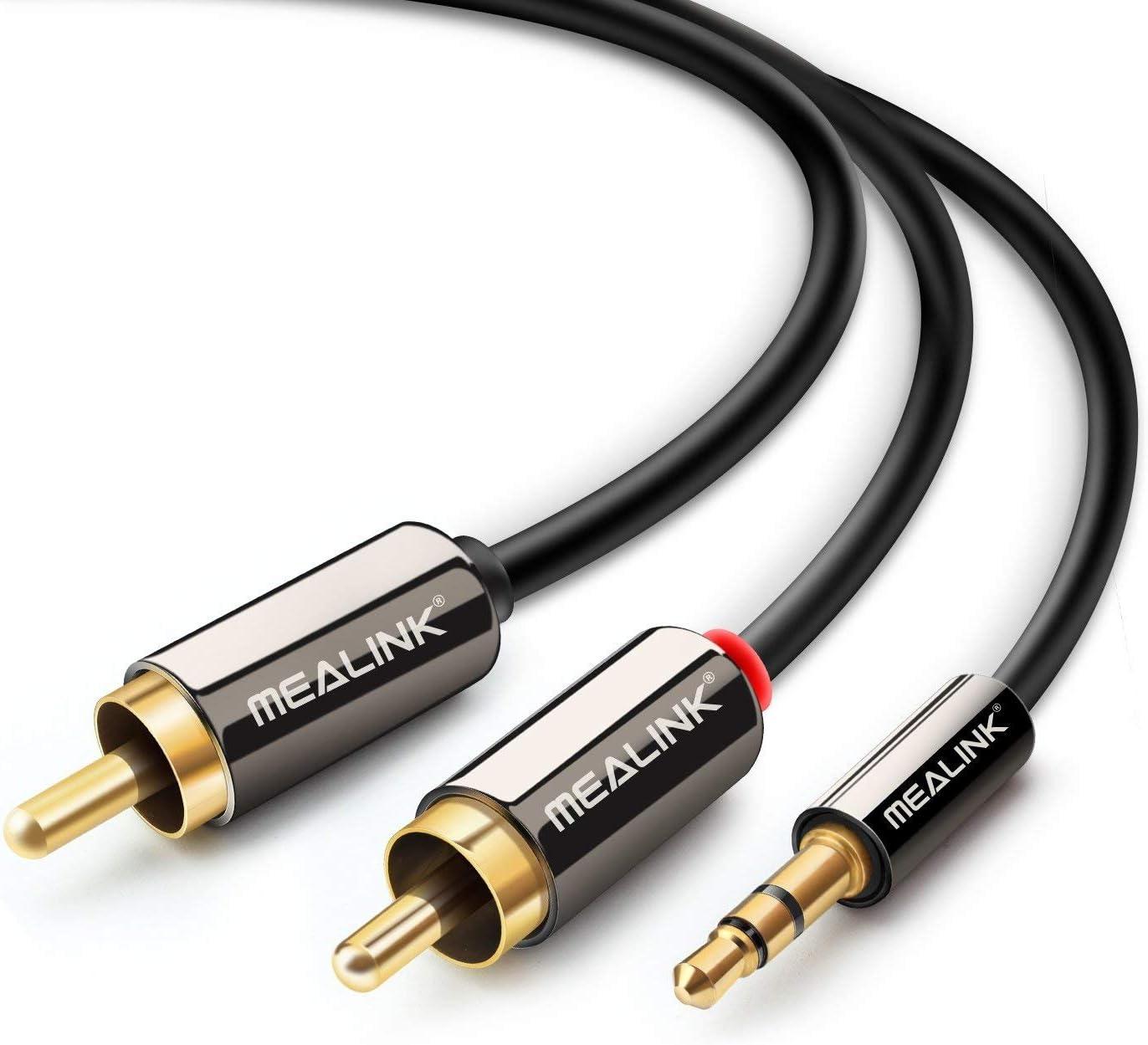 MEALINK Cable de audio 15 Ft/4.5M Jack de 3.5 mm a 2 RCA / Phono ...