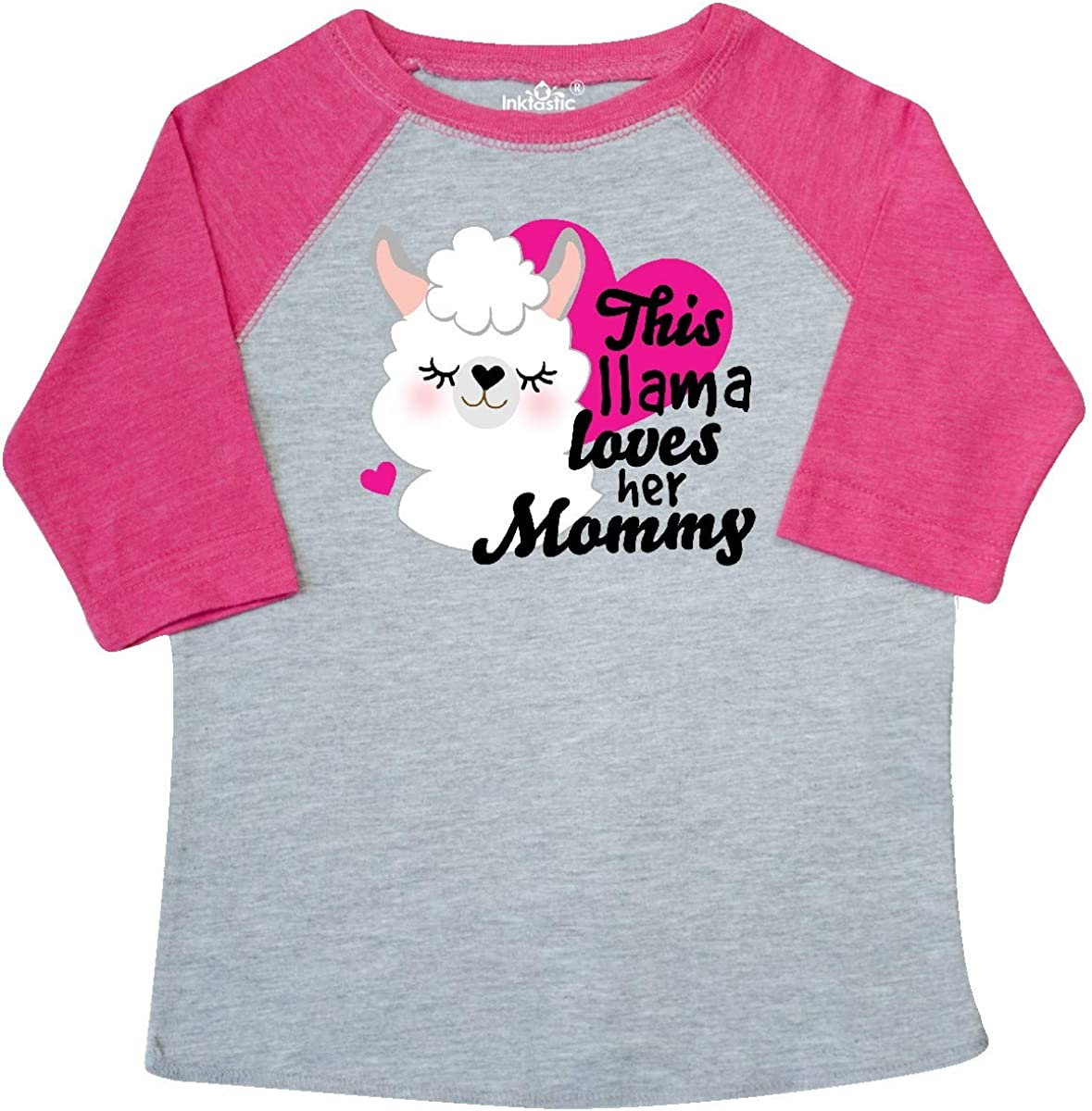 inktastic Valentines Day This Llama Loves Her Mommy Toddler T-Shirt