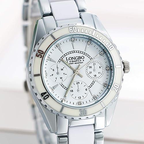 JewelryWe Pulsera Reloj de Mujer quadrantini Falsos de aleación, Impermeable, Color Blanco, Rosa De Regalo Bianco: Amazon.es: Joyería