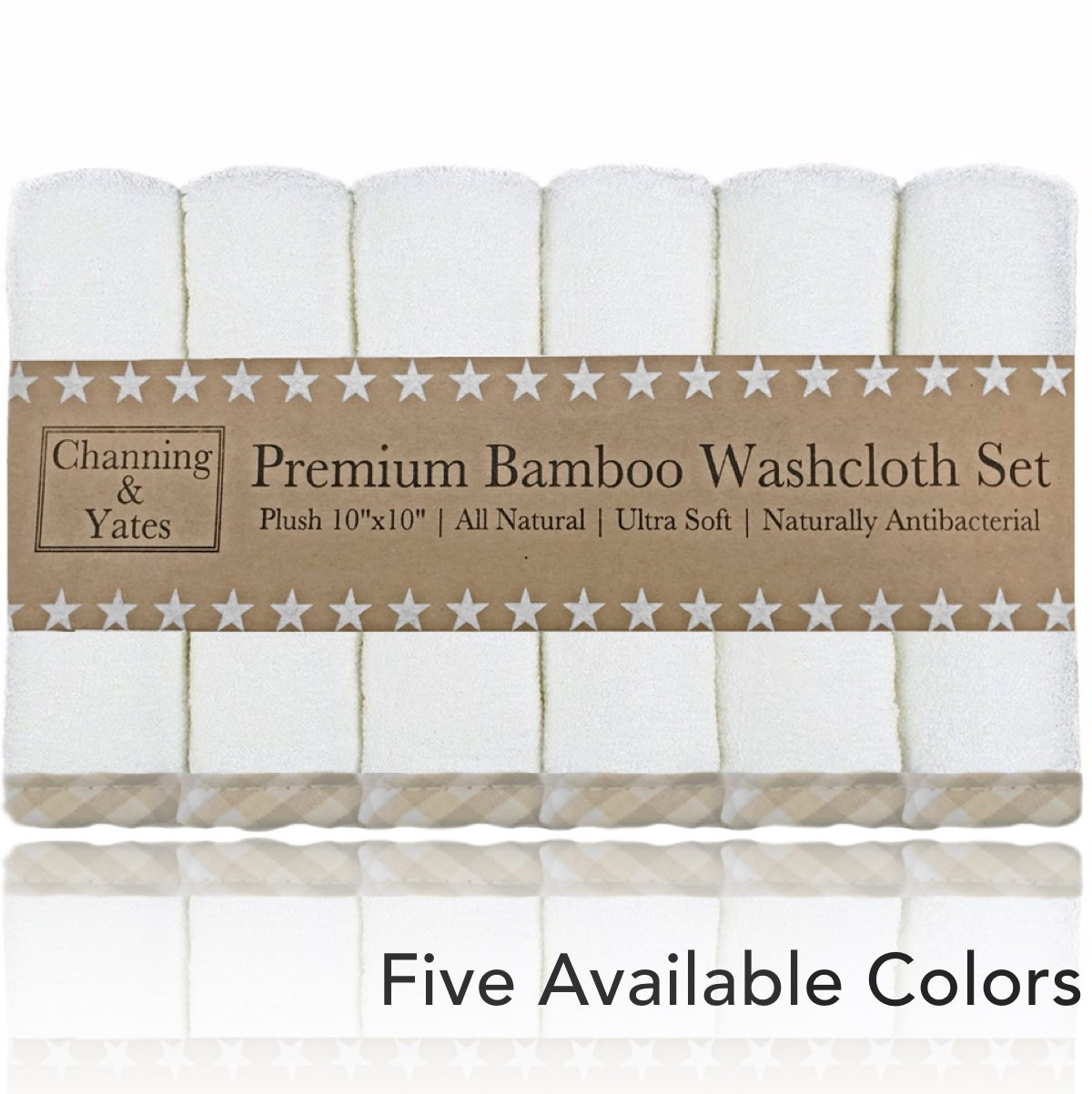 Premium Bamboo Baby Washcloths - (6 Pack) Organic Baby Washcloth - Ultra Soft Face Towels - 10'' x 10'' - Perfect Baby Gifts, Wash Cloths for Eczema (Beige/White)