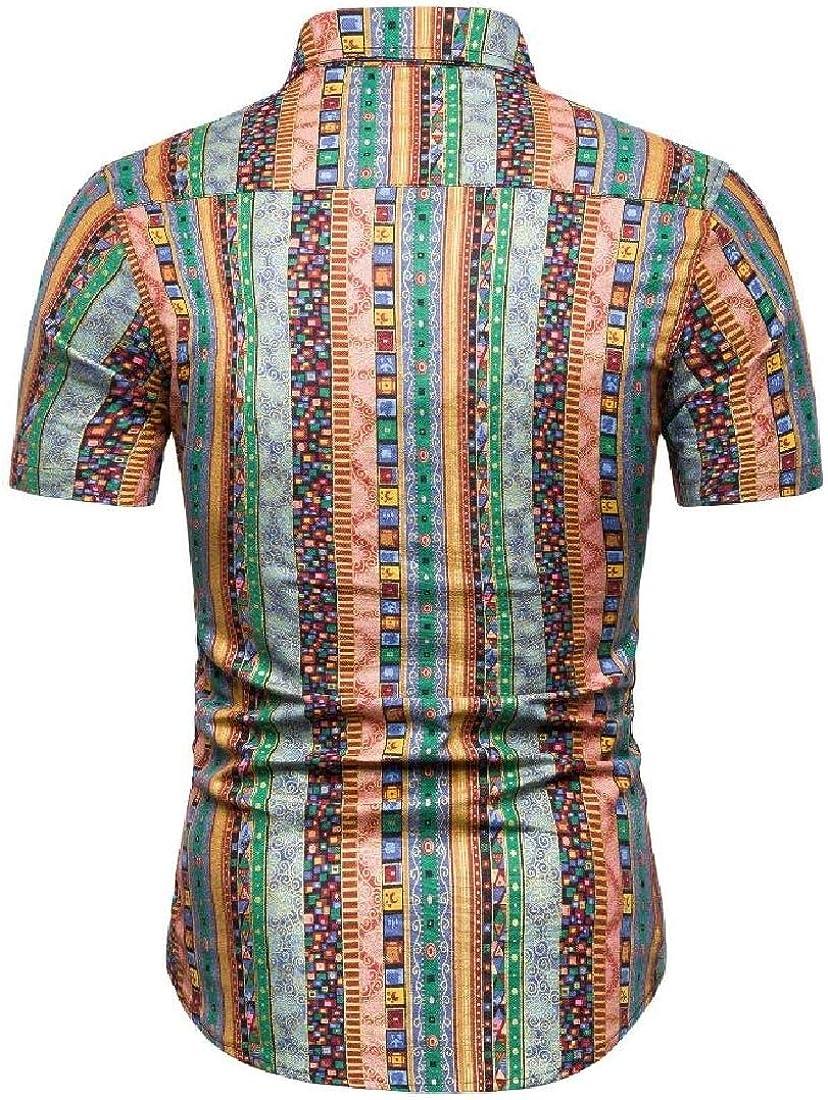 C/&H Mens Basic Short Sleeve Print Button Down Ethnic Style Shirt