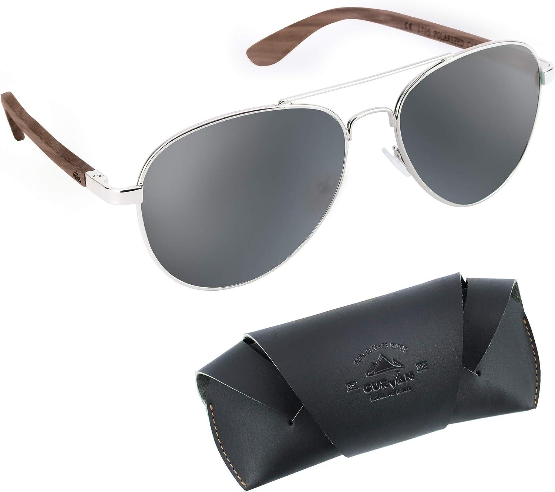 CURVAN - Gafas de Sol Polarizadas Hombre Mujer Unisex | Estilo Aviador | 100% Protección UV400 | Patillas Madera Natural Ecológica | Lente Antirreflejante Antideslumbramiento | Diseño Moda Retro