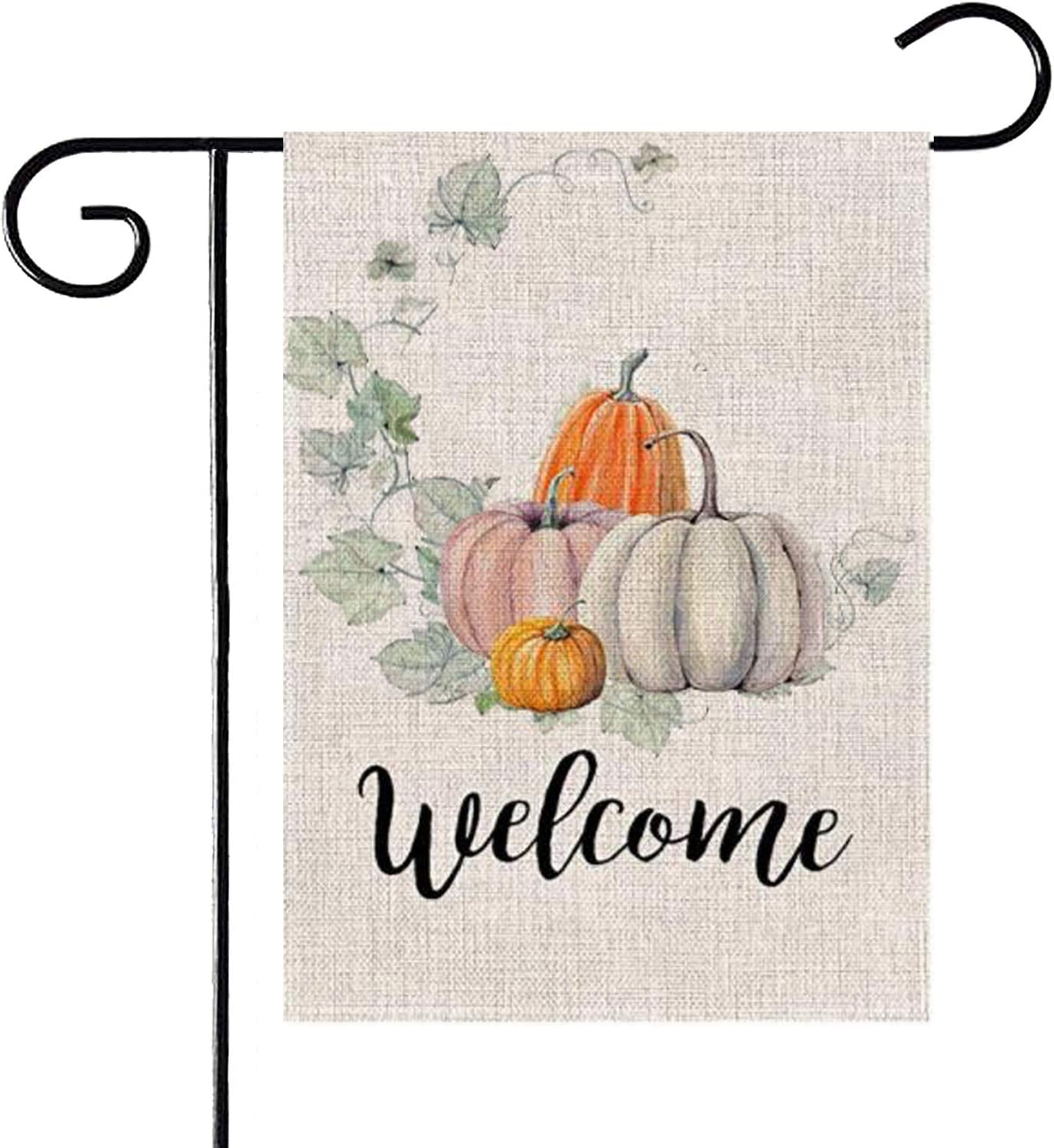 PINCHUANG Fall Welcome Pumpkin Garden Flag - Double Sided Decorative Autumn Thanksgiving Farmhouse Harvest Garden Flag Yard Burlap Banner for Indoor & Outdoor Decoration(Not Include a Flag Pole)