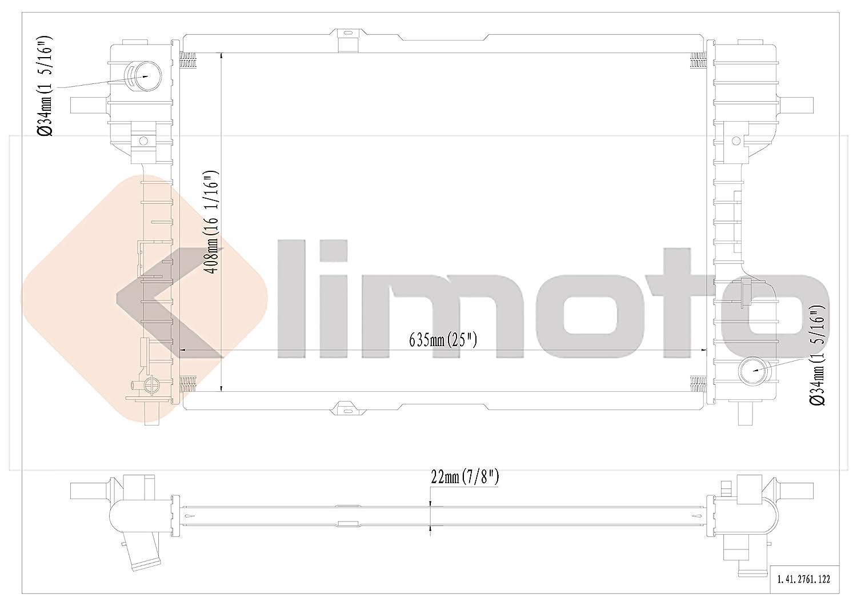 Klimoto Brand New Radiator fits Ford Five Hundred Freestyle Mercury Montego 2005 2006 2007 3.0L V6 FO3010259 5F9Z8005AA 040876440128 SBR2761 CU2761 RAD2761
