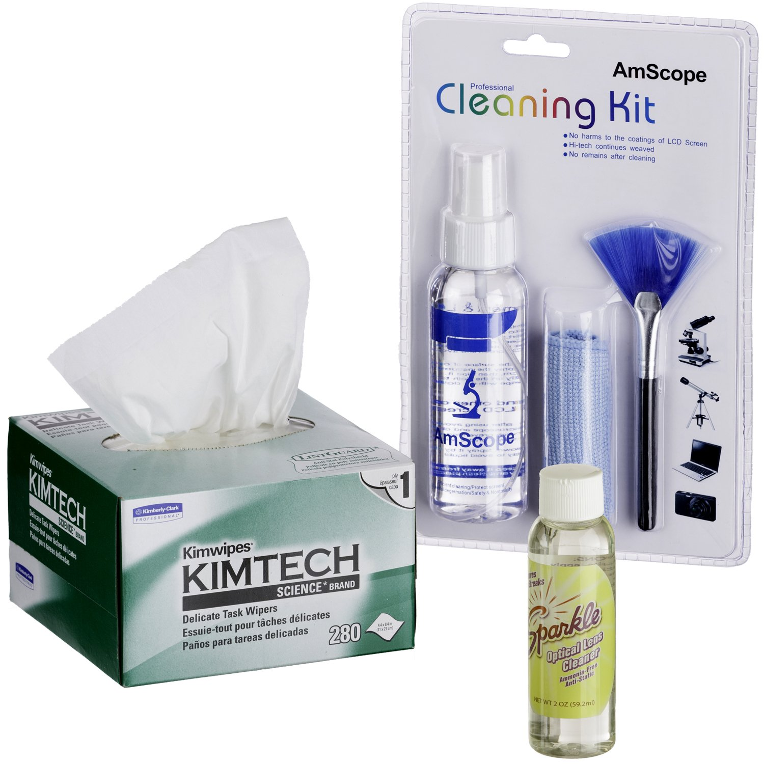 AmScope CLS-CKI-KIM Microscope and Camera Cleaning Kit for Lenses, Body and TV or Computer Screens