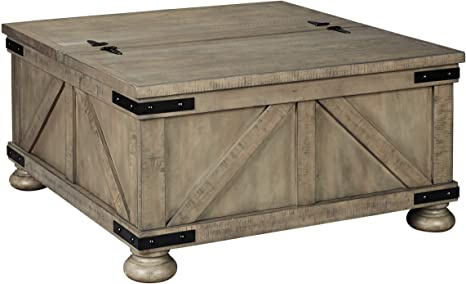 Amazon Com Signature Design By Ashley Aldwin Coffee Table With Lift Top Gray Furniture Decor